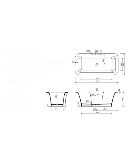Vana z litého mramoru volně stojící vana Tytan 179 x 89 x 62cm bílý mramor lesk / kryt tech. Dokumentace