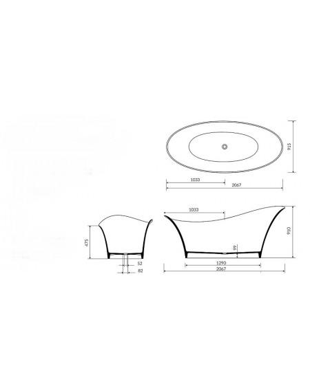 Vana z litého mramoru volně stojící Alice ll. 207 x 92 x 91cm bílý mramor lesk Durocoat ® tech. Dokumentace