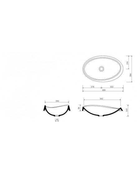 Umyvadlo na desku Alice III. 60x37x16cm bílý mramor lesk Durocoat ® tech. Dokumetace