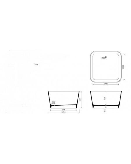Vana volně stojící Balia M čtvercová 120x120cm materiál Durocoat® tech. Dokumentace
