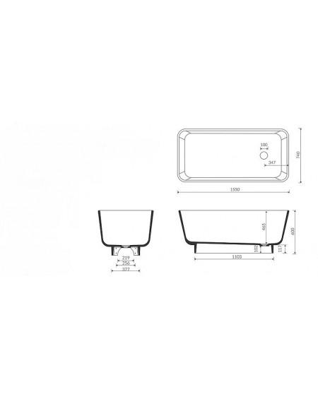 Vana volně stojící z litého mramoru Balta 157x75x60cm materiál Durocoat® tech. Dokumentace