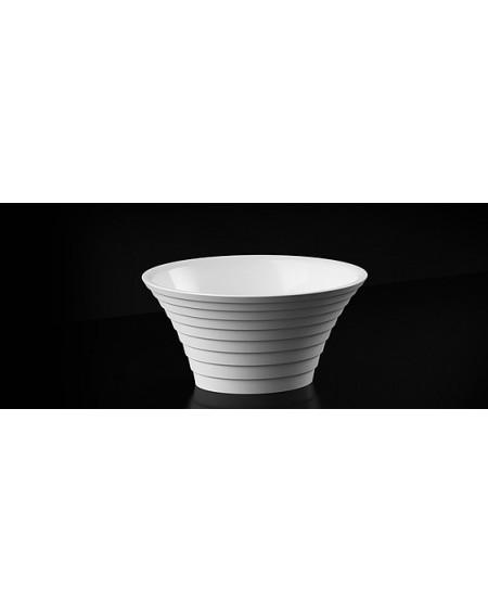 Umyvadlo na desku litý mramor Cascade B oválné 44x37x22cm materiál Durocoat® super white lesk