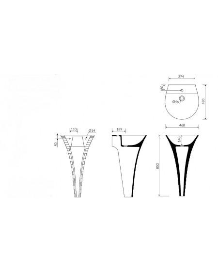 Umyvadlo volně stojící sloupové Cascada B.85cm height 48x48x14cm Durocoat ® tech. Dokumentace