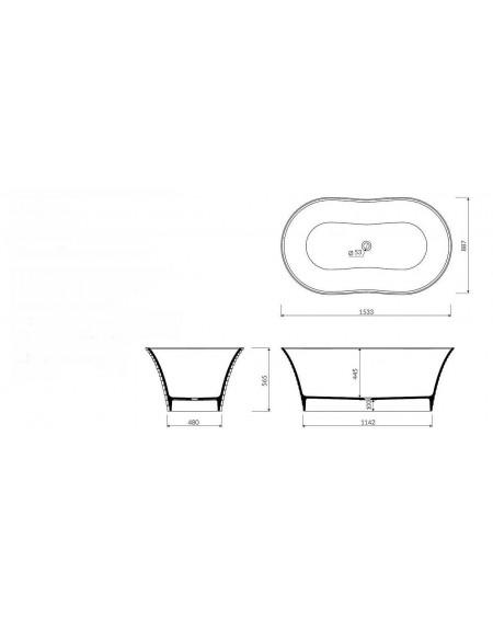 Vana z litého mramoru volně stojící Cascade B. 154x89x57cm bílý mramor lesk Durocoat ® tech. Dokumentace