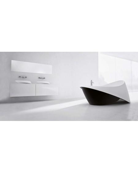 Vana z litého mramoru volně stojící Goccia 197x97x73cm bílý mramor Durocoat ® Black & White lesk