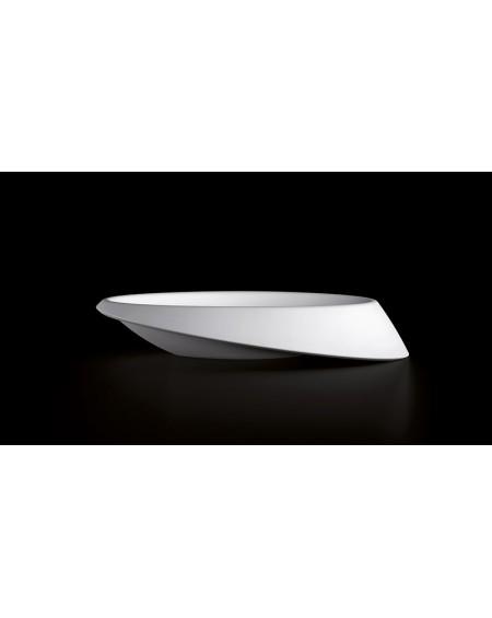 Umyvadlo na desku litý mramor Goccia 64x42x14cm bílý mramor Durocoat ® White lesk
