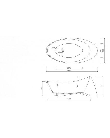 Vana z litého mramoru volně stojící Goccia 197x97x73cm bílý mramor Durocoat ® tech. Dokumentace