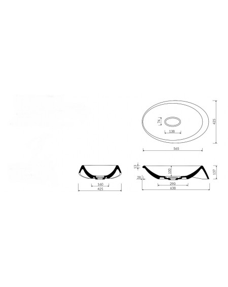 Umyvadlo na desku litý mramor Goccia 64x42x14cm bílý mramor Durocoat ® tech. Dokumentace