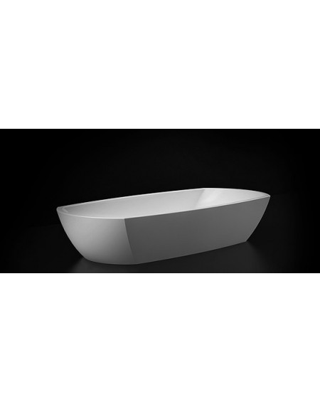 Umyvadlo na desku z litého mramoru Isar 800 B.W. 80x36x15cm bílé materiál Durocoat® litý mramor povrch lesk White