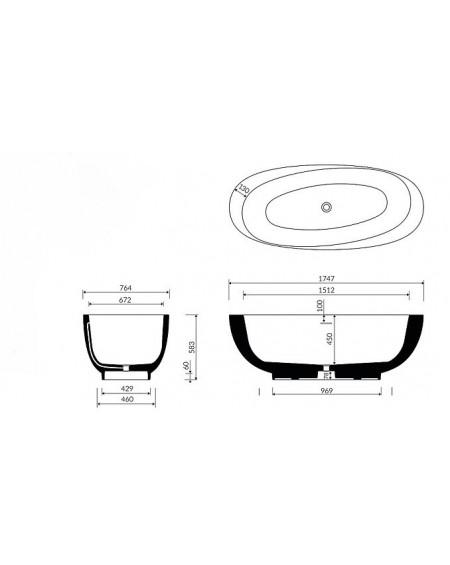 Vana z litého mramoru volně stojící Amos M. 177x77x59cm materiál Durocoat® tech. Dokumentace