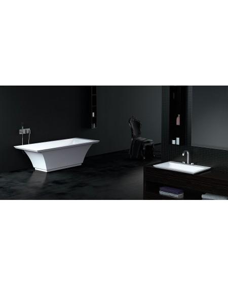 Koupelnový set Theodor konglomerát z litého mramoru Durocoat ® v provedení super white / colore / lesk / mat