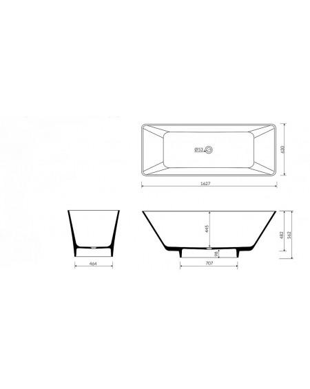 Vana volně stojící Loren M. 163x63x57cm materiál Durocoat® litého mramoru povrch mat