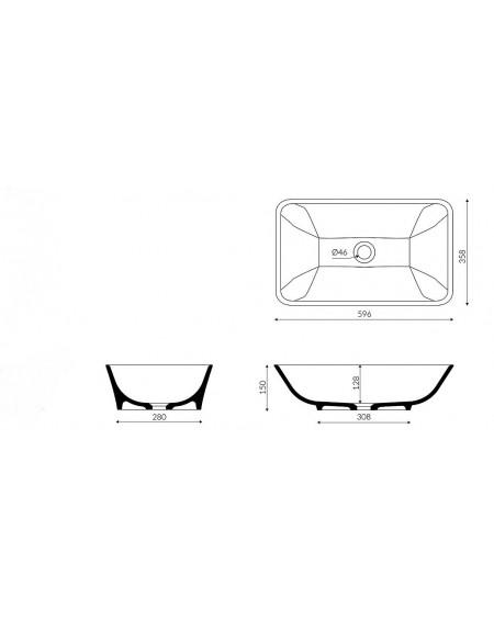 Umyvadlo na desku zápustné Loren B. 60x36x15cm materiál Durocoat® litý mramor tech. Dokumentace