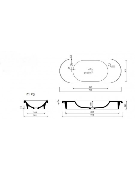 Umyvadlo zápustné na desku z litého mramoru Pia 900 B. 92x36x13 Durocoat ® tech.dokumentace
