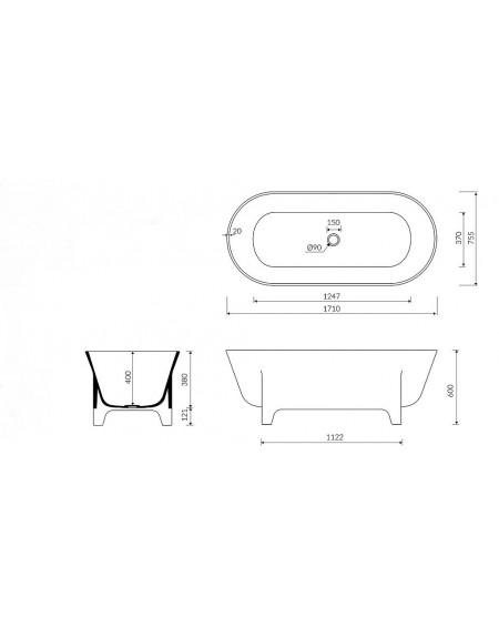 Vana volně stojící Liva W.M. 171x76x60cm z litého mramoru Durocoat ® tech. Dokumentace