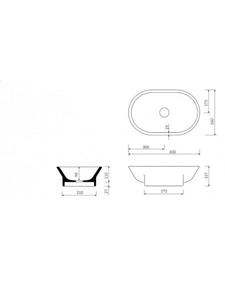 Umyvadlo na desku z litého mramoru Liva W.B. 60x35x14cm White materiál Durocoat® tech. Dokumentace
