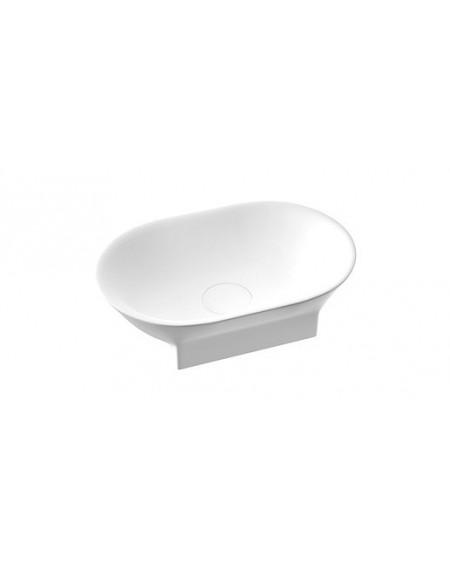 Umyvadlo na desku z litého mramoru Liva W.B. 50x32x14cm White materiál Durocoat® povrch lesk bílý