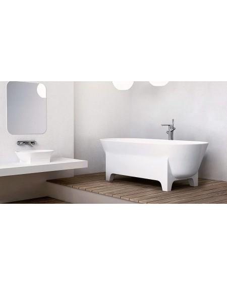 Koupelnový set Liva konglomerát mramoru Durocoat ® super white mate / brilo RAL Design System