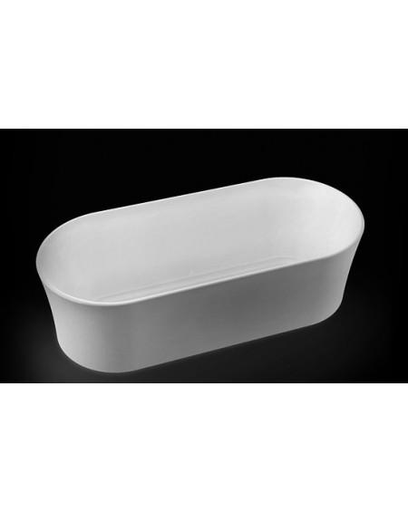 Vana z litého mramoru volně stojící Wega W.M. 169x67x52cm super white konglomerát mramoru Durocoat® bílá matná