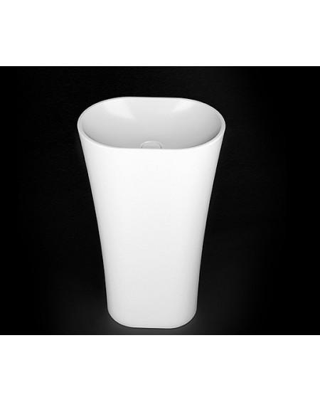 Umyvadlo z litého mramoru volně stojící Wega 440 wall 44x31x845cm konglomerát mramoru Durocoat® bílé lesklé