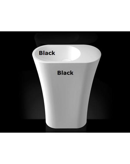 Umyvadlo z litého mramoru volně stojící Wega 600 BL.B. Left wall 60x31x845cm konglomerát mramoru Durocoat® levé / černé lesklé