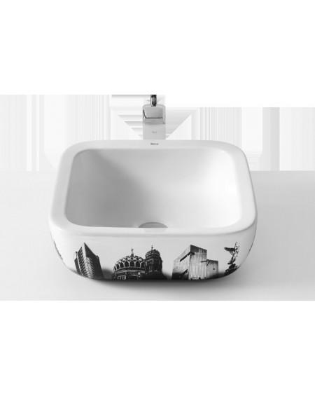 Umyvadlo na desku porcelán Urban Berlin 40x40x15cm glase výrobce Roca Es.