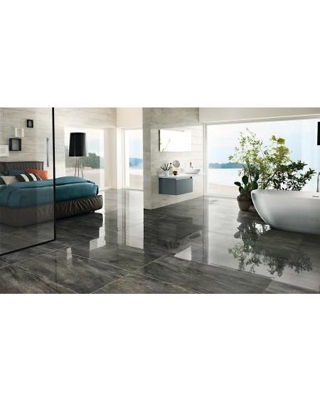 Dlažba imitující mramor Icon Charcoal 60x120 cm Rtt. Lappato výrobce La Fabbrica kalibrováno lesk tmavě šedý