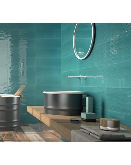 Koupelnový obklad Casa Mayolica Artisan basalto 20x60 cm výrobce Pamesa se vzorem barva smaragdu - aquamarine / lesk