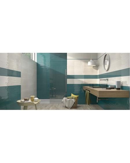 Koupelnový obklad Casa Mayolica Artisan basalto 20x60 cm výrobce Pamesa se vzorem barva smaragdu - aquamarine nascar / lesk