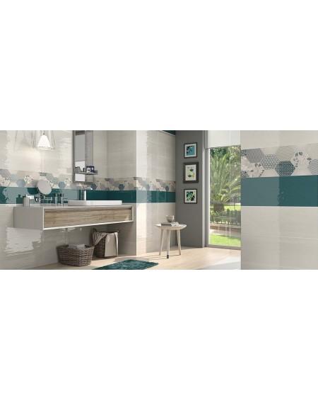 Koupelnový obklad Casa Mayolica Ancona basalto + nascar 20x60 cm výrobce Pamesa barva smaragdu - aquamarine / lesk