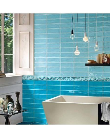 Koupelnový obklad retro lesklý Kraklé Azzurro 10x30 cm výrobce Tonalite It.