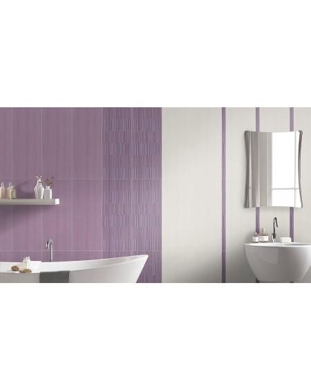 Koupelnový obklad Flou Lilla 25x60 cm výrobce Brennero It. Růžový koupelny lila