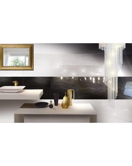 Koupelnový obklad Black & White Presuntuosa Black 25x60 cm Nero výrobce Brennero dekoro Wave černobílá koupelna