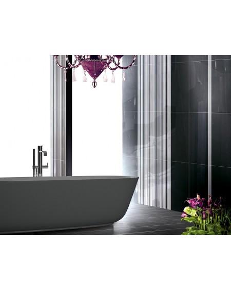 Koupelnový obklad Black & White Presuntuosa Black 25x60 cm Nero výrobce Brennero dekore Righe Nere černobílá koupelna