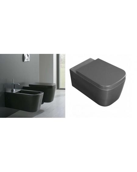 Závesná wc toaleta Stone 54cm porcelán Nero sedátko s poklopem Softclose výrobce Globo CERASLIDE® maxiclean antibak.colore AR