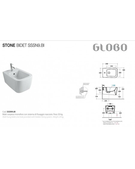 Závěsný bidet Stone 54cm porcelán White výrobce Globo CERASLIDE® maxiclean antibak.
