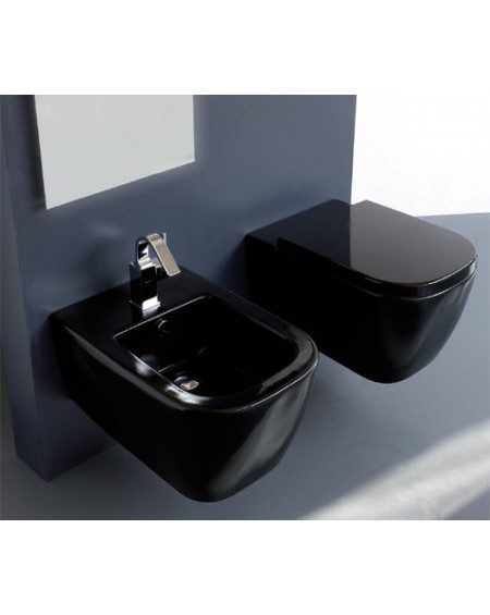 Závesná wc toaleta Stone 54cm porcelán Nero sedátko s poklopem Softclose výrobce Globo CERASLIDE® maxiclean antibak.colore NE