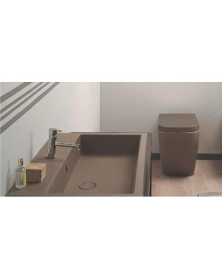 Stojící barevná wc toaleta Stone 54cm porcelán colore Castagno výrobce Globo CERASLIDE® maxiclean antibak.