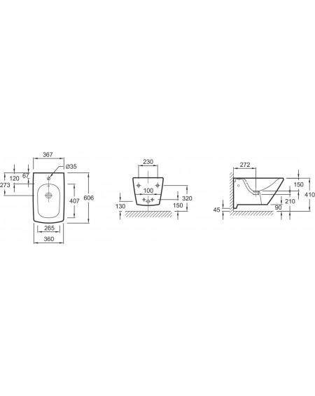 Závěsný bidet Escale 60cm výrobce Kohler 19046W tech. Dokumentace