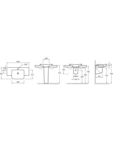 Umyvadlo porcelán s otvorem pro stojánkovou baterii Escale 100x52 cm výrobce Kohler 19034W tech. Dokumentace