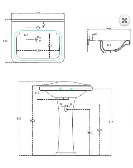 Umyvadlo samostatně stojící se sloupem Tocsa 65x53cm výrobce Hidra