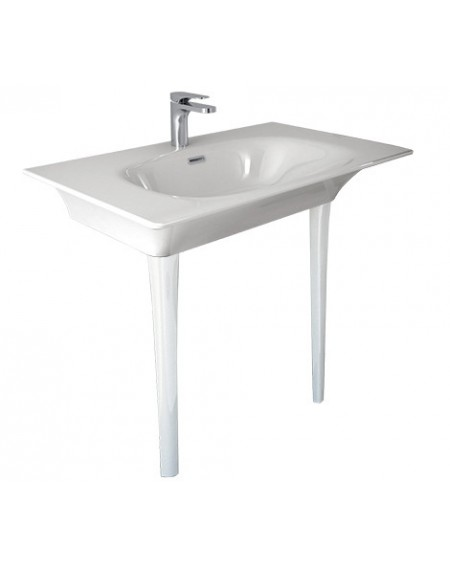 Umyvadlo consolle Flat white 86x51cm výška 85cm výrobce Hidra materiál porcelán - průměr 32mm
