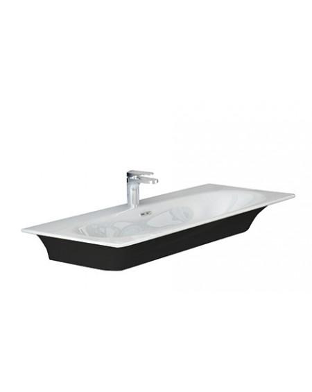 Umyvadlo na desku Flat black - white 96x51cm výrobce Hidra materiál porcelán - průměr 32mm