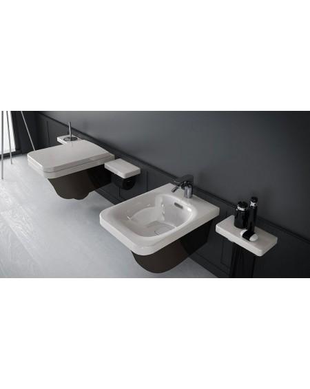 Závěsná wc toaleta black - white Flat 53cm sedátko slow-close výrobce Hidra
