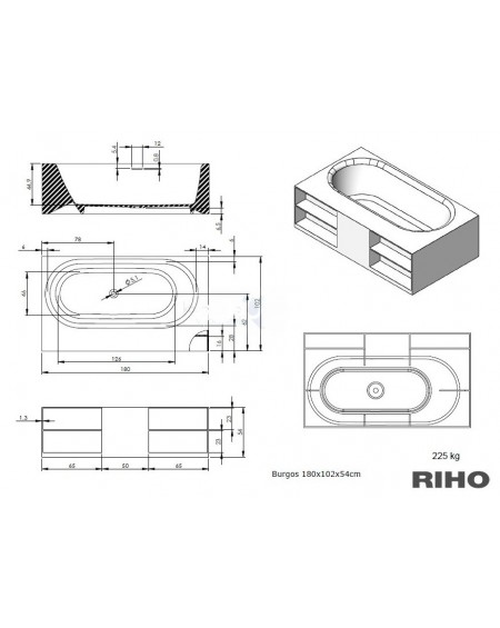 Vana volně stojící z litého mramoru white Burgos 180x102cm materiál konglomerát výrobce Riho tech. Nákres