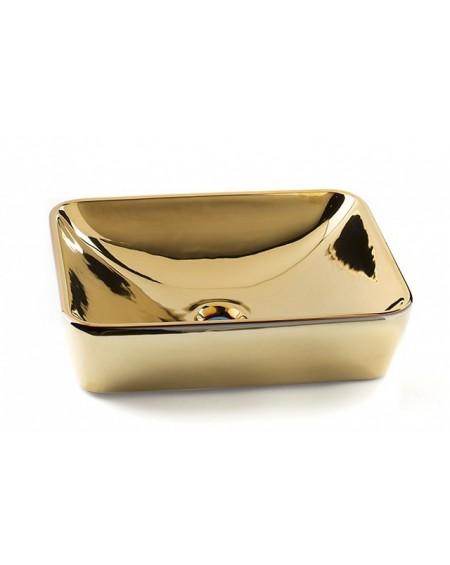 Zlaté umyvadlo materiál porcelán plus PVD Marvel Gold 50x38x13.3 cm výrobce Dune ceramic Es.