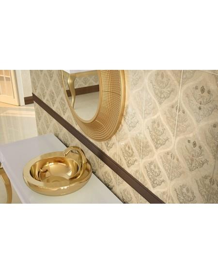 Zlaté umyvadlo materiál porcelán plus PVD 850 Gold 49x49x14 cm výrobce Dune ceramic Es. Mikron gold orig.