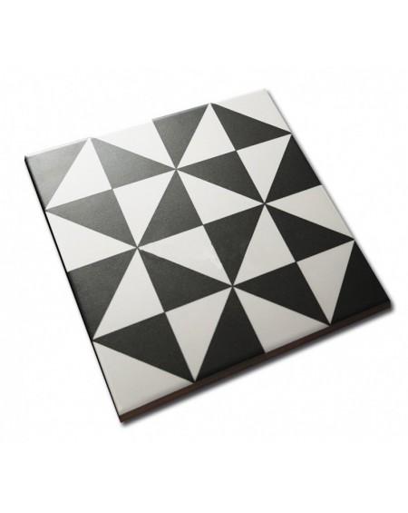 Dlažba se vzorem Art retro patchwork Terrades Grafito Basalto 20x20 cm výrobce Vives černobílá matná 1/m2