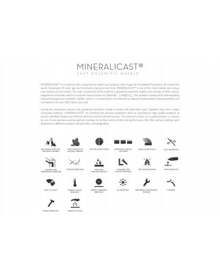 Vana z litého mramoru volně stojící Beca 222cm 120cm 53cm bílý mramor lesk Mineralicast ® quality material