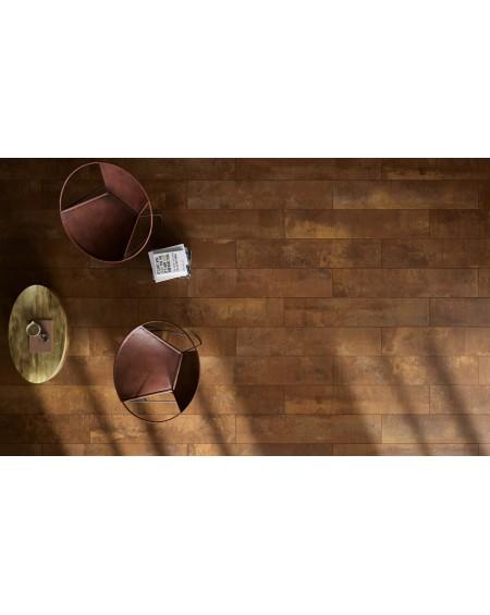 Dlažba obklad imitující kov metal corten Acidis Wood 24x120cm rtt. Ultra slim 6,5mm výrobce Fondovalle Italy